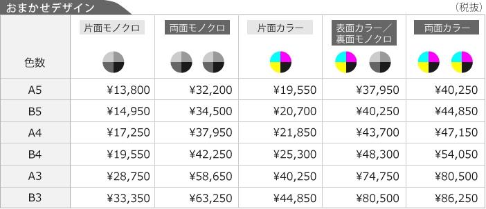 おまかせデザイン、チラシ・フライヤー・リーフレットデザイン料金表